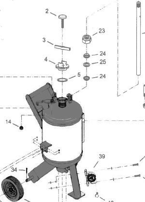Diagram of a dustless sandblaster.